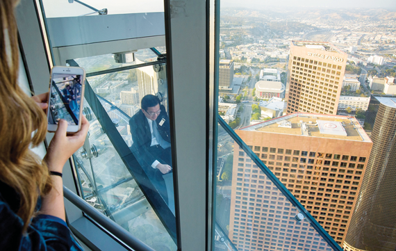 The Skyslide, an offbeat attraction at the U.S. Bank Tower, lets observation-deck guests slide from the 70th to the 69th floor.