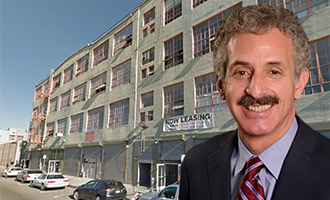 The warehouse at 931 East Pico Boulevard and City Attorney Mike Feuer