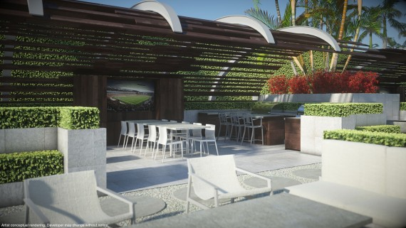 Brand new rendering of Paramount Miami Worldcenter's grill park