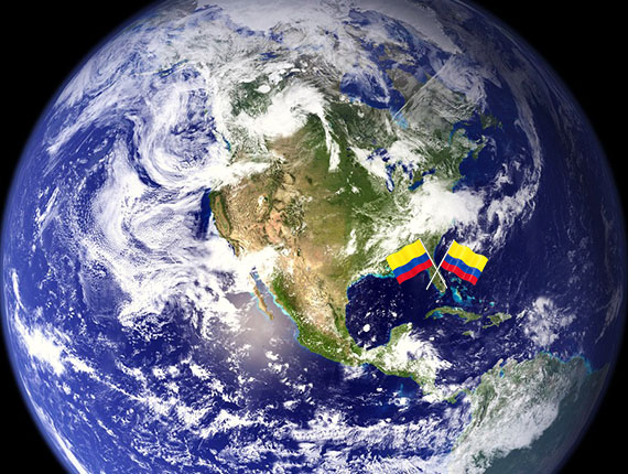 NASA satellite view and the Colombian flag