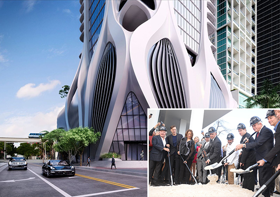 Rendering of One Thousand Museum. Inset: Zaha Hadid, developers at the groundbreaking of One Thousand Museum in December 2014 (Credit: Getty Images)