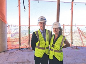 Brokers Nikki Field and  Kevin Brown of Sotheby's International Realty at the construction site at One57