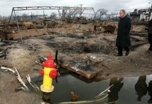 Mayor Bloomberg surveying Sandy destruction in the wake of the storm.