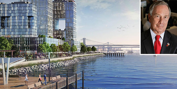 A rendering of SeaPort City and Michael Bloomberg (inset)