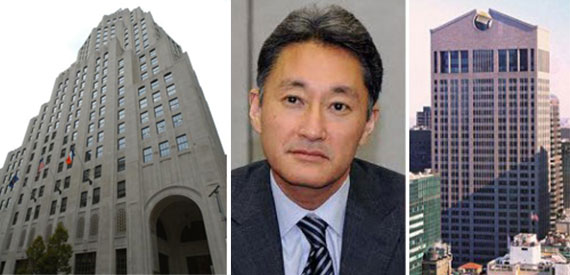 From left: 11 Madison Avenue, Sony CEO Kaz Hirai and 550 Madison Avenue