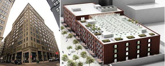 From left: 75 Front Street and 55 Water Street rendering