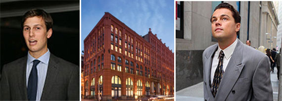 From left: Jared Kushner, the Puck Building at 295 Lafayette Street and Leonardo DiCaprio