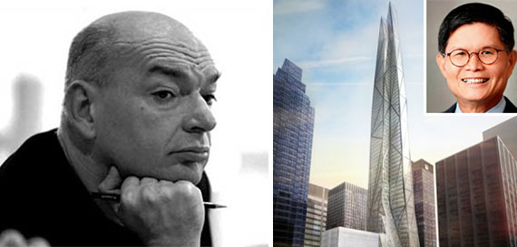From left: Jean Nouvel, a rendering of 53 West 53rd Street and Liong Tek Kwee (inset)