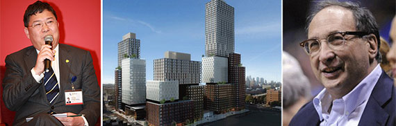 From left: Zhang Xuliang, an Atlantic Yards rendering (Credit: SHoP) and Bruce Ratner