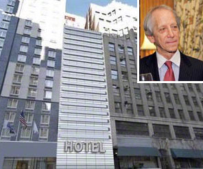 A rendering of the hotel at 335 West 39th Street and Kenneth Zakin (inset)