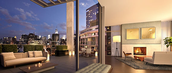 The triplex penthouse at One Vandam