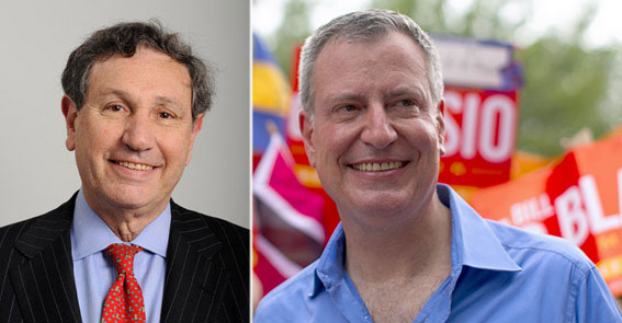 From left: Carl Weisbrod and Bill de Blasio