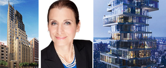 A rendering of the Walker Tower, Donna Olshan and a rendering of 56 Leonard Street