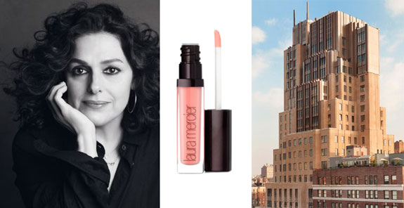 From left: Laura Mercier, a lip gloss made by her firm and Walker Tower