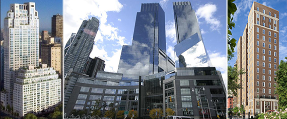 From left: 15 Central Park West, 25 Columbus Circle and 18 Gramercy Park South