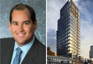 Scott Resnick and a rendering of 551 West 21st Street