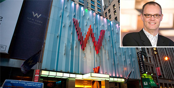 The W New York at 1567 Broadway in Times Square and Starwood's Frits van Paasschen (inset)
