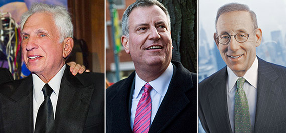 From left: Stephen Green, Bill de Blasio and Stephen Ross
