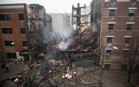 The explosion site in East Harlem