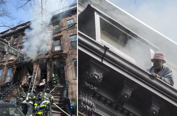 From left, firefighters respond to fire in Fort Greene brownstone, resident awaits rescue