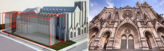 From left: Rendering of Brodsky site and St. John the Divine cathedral