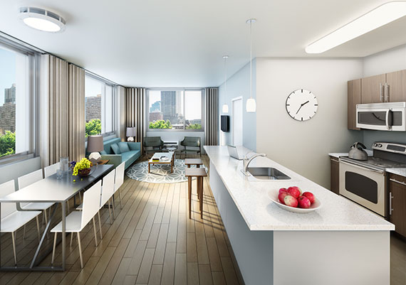 18 Park living room and kitchen rendering