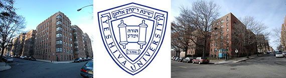 From left: 475 West 186th Street, the Yeshiva University logo and 90 Laurel Hill Terrace
