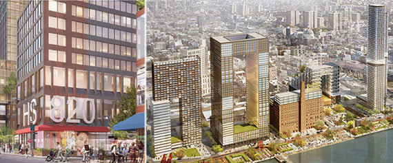From left: Rendering of 2 Grand Street's ground-level retail space and the entire project