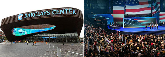 From left: Brooklyn's Barclays Center and the 2012 Democratic National Convention in Charlotte
