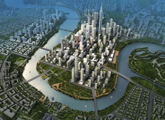 Yujiapu, a Chinese city modeled on Manhattan