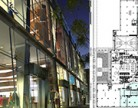 From left: 605 West 42nd Street and plans highlighting the proposed showroom