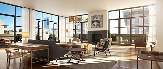 Living room area in Penthouse B, now in contract for $23 million