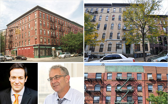 Clockwise from top left: 501 West 148th Street, 169 Edgecombe Avenue, 1702 Amsterdam Avenue, Ron Moelis and Peter Von Der Ahe