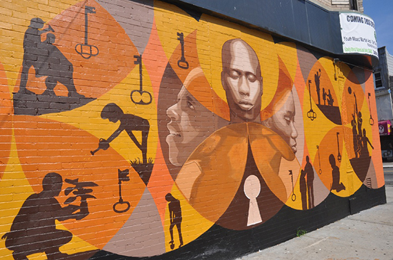 A mural in the Brownsville neighborhood of Brooklyn
