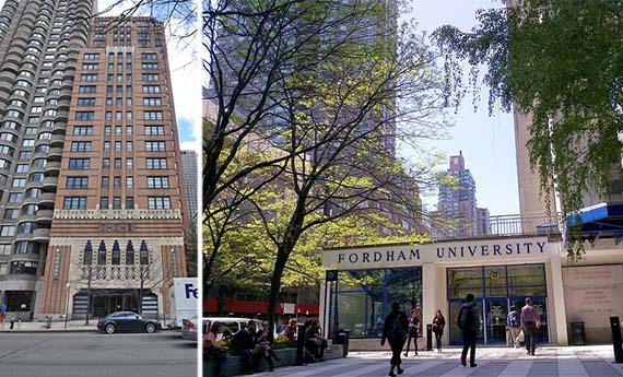 From left: 43 West 61st Street and the Fordham University Lincoln Center Campus
