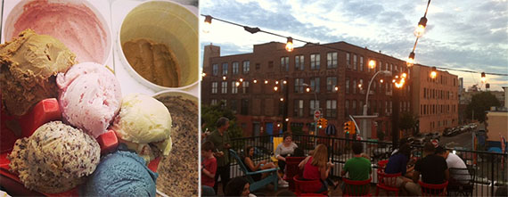 Ample Hills Creamery ice cream and rooftop deck at