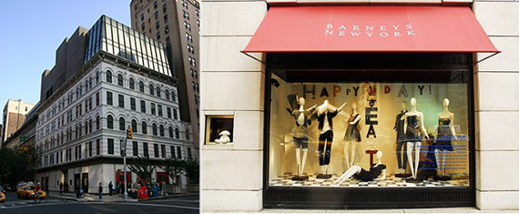 From left: 115 Seventh Avenue and a Barney's storefront