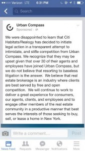 Urban Compass put out a sponsored Facebook post decrying the lawsuit
