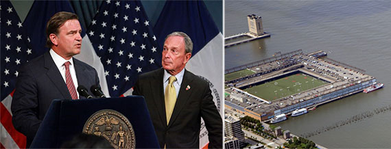From left: Former deputy mayor Bob Steel with Michael Bloomberg and Pier 40