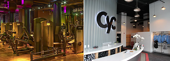 From left: DavidBartonGym at 4 Astor Place and the lobby of a CYC Fitness location