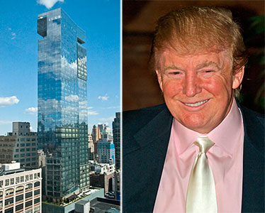 From left: the Trump Soho Hotel and Donald Trump