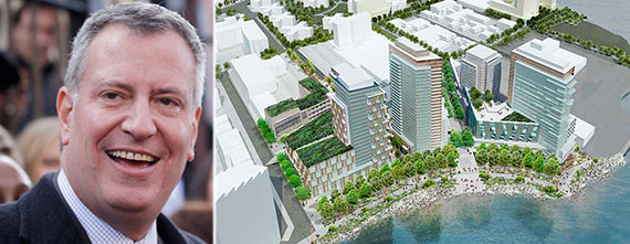 Mayor Bill de Blasio and a rendering of Astoria Cove