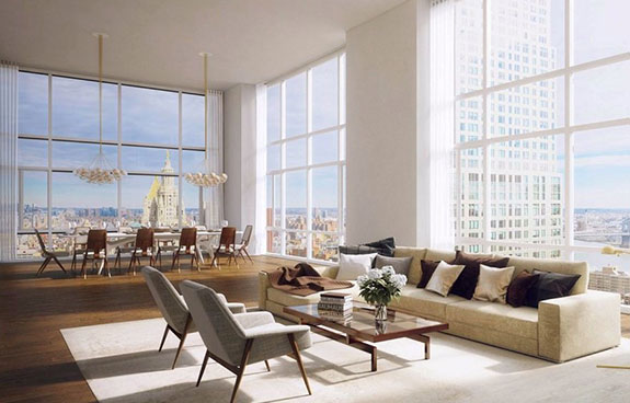 Rendering of the penthouse at the Beekman