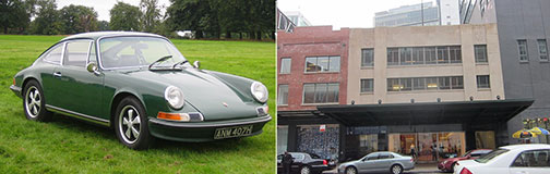 From left: the Porsche 911 coupe and 446 West 14th Street