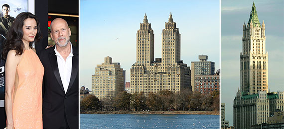 From left: Bruce Willis and wife Emma Heming, the Eldorado on the Upper West Side and the Woolworth Building