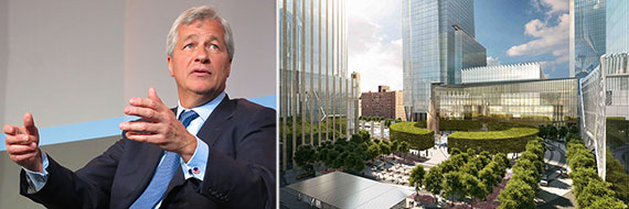From left: Jamie Dimon and a rendering of Hudson Yards