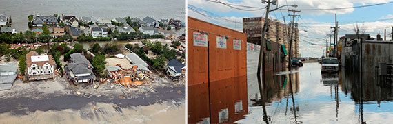 From left: Sandy damage in Mantaloking, NJ and Rockaway, NY