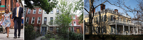 From left: Mayor Bill de Blasio and Chirlane McCray, their Parkslope home and Gracie Mansion
