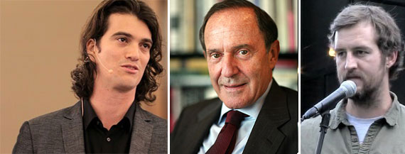 From left: Adam Neumann, Mort Zuckerman and Miguel McKelvey