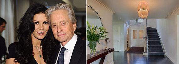 From left: Catherine Zeta-Jones and Michael Douglas and their Bedford, N.Y.-home